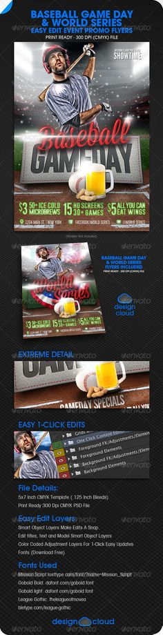 Baseball Game Flyer Template Flyer template, Game and Flags - baseball flyer