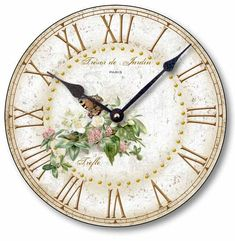 Item C2040 Shabby Chic Butterfly Clover Blossoms Clock