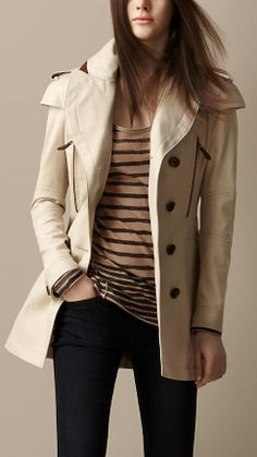 Short Cape Detail Trench Coat | Burberry...plus the striped shirt and dark wash jeans