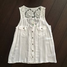 White lacy tank. Super soft and airy lacy tank from Xhilaration. Xhilaration Tops Tank Tops
