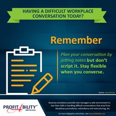 Having a difficult conversation in your workplace today? Here are some #communicationtips.  #ProfitAbility #Infographic #ProfitAbilityInfographics