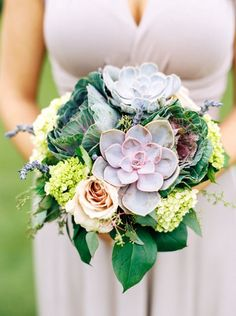 Lavender and Succulent Bouquet | Emily Katharine Photography | http://heyweddinglady.com/natural-glam-wedding-lavender-green/