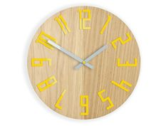 Wall Clock Wood clock large wall clock gift wall decor Unique wall OAK clocks Yellow by ModernClock on Etsy https://www.etsy.com/listing/530820437/wall-clock-wood-clock-large-wall-clock