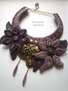 Nymph - Bead embroidered necklace with purple flowers and enamel brass butterfly