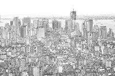 I LOVE NYC Aerial View of New York City View  Sketch by ddfoto, $40.00