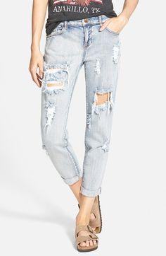Junior Women's SP Black Destroyed Boyfriend Jeans (Medium)
