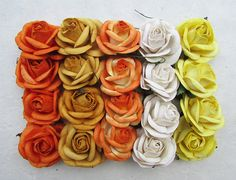 20 pcs Big Rose Orange and Yellow Mulberry Paper Flower 50 mm scrapbooking wedding doll house supplies card -- Be sure to check out this awesome product.