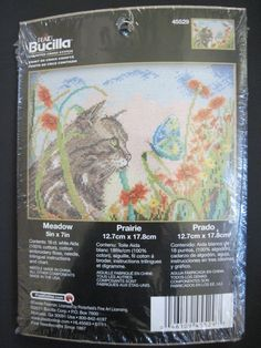 Meadow Plaid Bucilla Counted Cross Stitch Kit Cat Butterfly Flowers New 45529 #BucillaPlaid #CountedCrossStitchKit