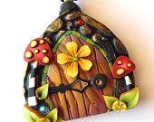 Toadstool Fairy Door Necklace, Polymer Clay Fairy Door
