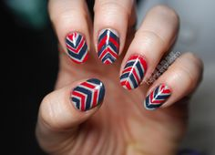 I guess you could call these rustic chevrons, but the gaps in the blue only showed up in the picture, not on the nail. Anyway, the colors I used to achieve this mani were American Apparel Echo Park with Zoya America and Essie Bobbing for Baubles