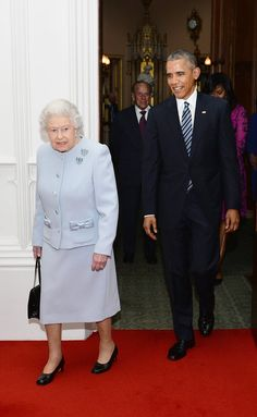 Queen Elizabeth II and Prince Philip, Duke of Edinburgh enter the Oak Room at Windsor Castle, with US President Barack Obama and First Lady of the United States, Michelle Obama ahead of a private. Get premium, high resolution news photos at Getty Images