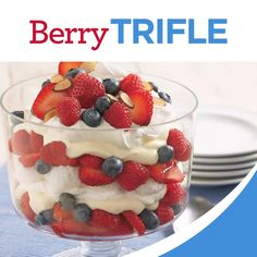 4th Of July Desserts, Fourth Of July Food, Easy Desserts, Delicious Desserts, Yummy Food, July 4th, Fruit Trifle, Berry Trifle, Trifle Desserts