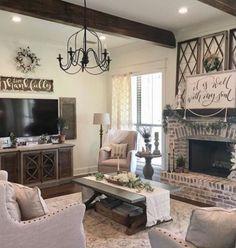 Living Room Tv, Living Room Interior, Home Interior Design, Interior Doors, Dining Room, Farmhouse Sofa Table, Farmhouse Decor, Farmhouse Small, Modern Farmhouse