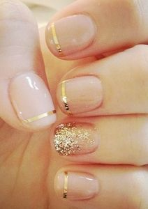 gold and nude nails
