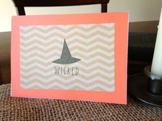 Wicked - Single Card - Cream Chevron and Orange Witch Hat Stamped Card