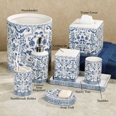 Blue And White Toile Bathroom Accessories