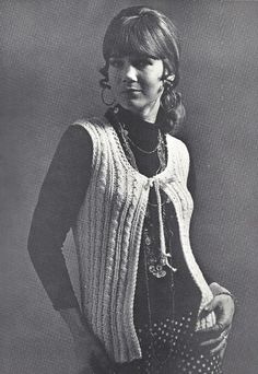 1970 Vintage Knitting Pattern. Misses vest knitted in a Fisherman pattern has low round neckline and front ties. It is made with worsted weight yarn and knitting needles No. 10.  Gauge: 4 stitches = 1