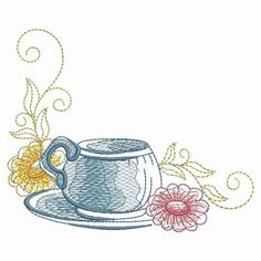 Sketched Tea Time embroidery design