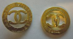 ButtonArtMuseum.com - LOT 2 Chanel CC CUT OUT Hammered Gold Metal Pendant Charm Button Stamped 23mm
