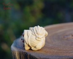 Natural Wood  1pcs Boxwood Carved Dragon Turtle by DaoCaoStudio