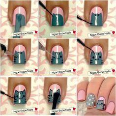 Step by step Pusheen nail art tutorial Cat Nail Art, Animal Nail Art, Nail Art Diy, Pusheen, Cat Nail Designs, Nail Art For Kids, Shellac Nail Art, Star Nails, Kid Nails