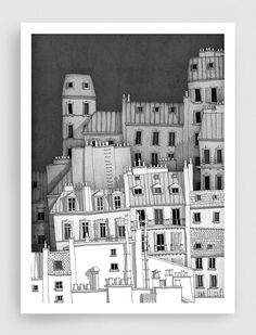 Paris illustration - Montmartre (b&w) - Black and white illustration,Fine art prints,Art Poster,Pari Illustration Parisienne, Art Et Illustration, Medical Illustration, Art Parisien, Artwork Prints, Fine Art Prints, Paris Wall Decor, City Drawing, Kunst Poster