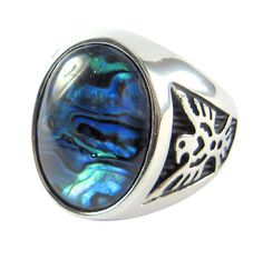 Abalone Shell Eagle Ring Size 9 10 11 12 13 14 Paua Stainless Steel Mens Jewelry #ALDA #Statement