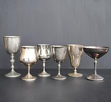 silver glasses, goblets and coupes for hire for weddings and events