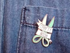 CRAFTY B*TCH hard enamel pin | Lapel pin | Cute mint scissors | bright pastel | arts and crafts