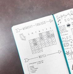 Workout Tracker from The Illustrated Bullet Journal of Sarah from @luckyletters