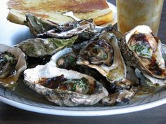 Barbequed oysters in South Bend, WA