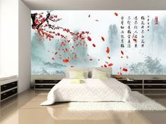 Cherry Blossom art in bedroom