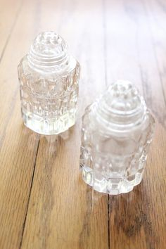 Vintage Crystal Salt and Pepper Shakers by tiptoecurio Salt Pepper Shakers, Salt And Pepper, Crystal Vase, Tools And Equipment, Kitchen Tools, Vases, Mom, Crystals, Unique Jewelry