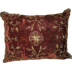 Italian Embroidered Velvet Pillow