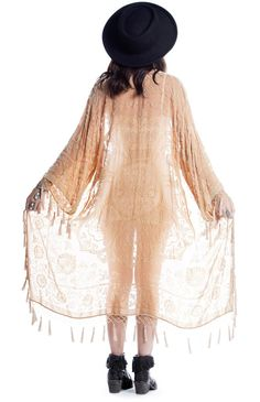 Gypset Medallion Velvet Burnout Tassel Kimono - Peach - Saltwater Gypsy