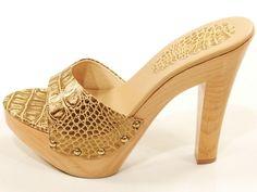 7331e91de5 Details about Michael Kors Wood High Heel Sandals Platform Snake Print  Leather Gold 10 M New. Tamancos De MadeiraCouro ...