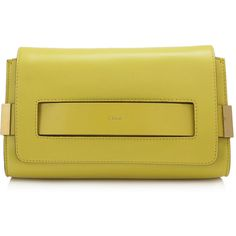 Chloé Medium 'Elle' Baj Soleil Clutch ($869) ❤ liked on Polyvore featuring bags, handbags, clutches, yellow, strap purse, chloe purses, chloe handbags, yellow handbag and yellow purse