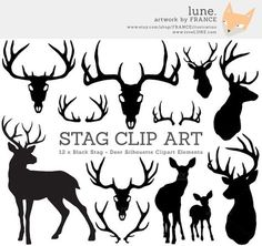 Stag Silhouette Deer Christmas Clip Art by FRANCEillustration