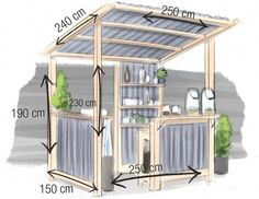 ideas for backyard bar shed decks Bar Patio, Deck Bar, Backyard Bar, Backyard Patio Designs, Backyard Projects, Backyard Kitchen, Pool Bar, Diy Outdoor Bar, Outdoor Kitchen Bars