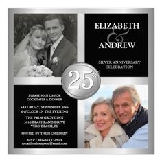 25th Anniversary Invitations with 2 Photos-would use for scrapping