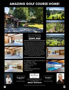 Real Estate for Sale: $849,900-4 Bd/5 Ba Amazing Two Story Split Level Green Meadows Mid-Century Golf Course Home on Large .36 Acre Lot on the 18th Fairway at: 7207 NE Fairway Ave, Vancouver, Clark County, WA! Area 15. Listing Broker: Bob Moss (360) 600-9588, Windermere Stellar, Vancouver, WA! #realestate #VancouverRealEstate #GolfCourse #GolfCourseRealEstate #GreenMeadows #GreenMeadowsRealEstate #EastHazelDellRealEstate #MinnehahaRealEstate #MidCenturyRealEstate #SplitLevel #ThreeCarGarage