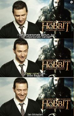 "Richard Armitage's impersonation of Gandalf // This part makes me laugh so hard! XD I actually found myself standing at the sink at work the other day, just muttering this under my breath. ""Biiillbo BAGginssss...""  XD (-SG)"