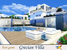 evi Grecian Villa - The Sims 4 Catalog Lotes The Sims 4, Sims Cc, The Sims Houses, Sims 4 House Building, Big Pools, Casas The Sims 4, The Sims 4 Download, Modern Mansion, Sims Community