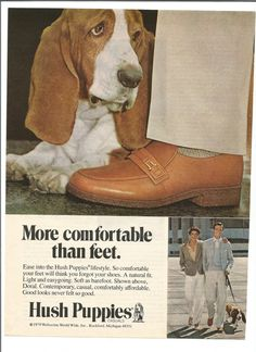 1979 Hush Puppies Advertisement 70s Mens Shoes Footwear Basset Hound Style Fashion Couple Wall Art Decor