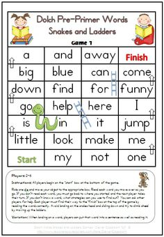 Dolch Pre-Primer Words Snakes and Ladders Games x 6 - 6 pages$ http://www.teacherspayteachers.com/Product/Dolch-Pre-Primer-Words-Snakes-and-Ladders-Games-x-6-6-pages-232372