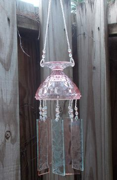 Antique Pink Depression Glass Sherbet Dish Upcycled into a Windchime, Stained Glass Chimes