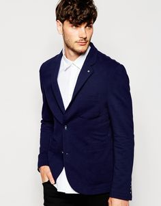"""Blazer by Peter Werth Thick jersey Notch lapels with lapel pin Two button opening Functional pockets Slim fit - cut closely to the body Dry clean 100% Cotton Our model wears a 40""""/102 cm and is 6'1""""/185.5 cm tall"""