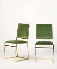 Six Italian Brass Dining Chairs In Style Of Willy Rizzo