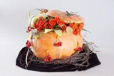 make flower pumpkin centerpiece instructions ideas roses rowan berries