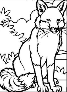 red fox coloring page 2